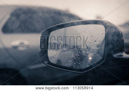 Rain Drop On Rear Window In Rainning Day