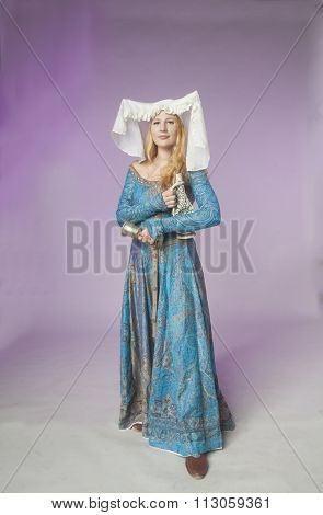Noble Medieval Lady With Jar And Cup