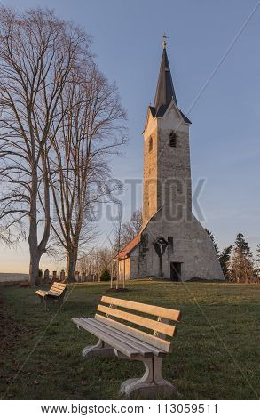Old Village Church With Resting Benches