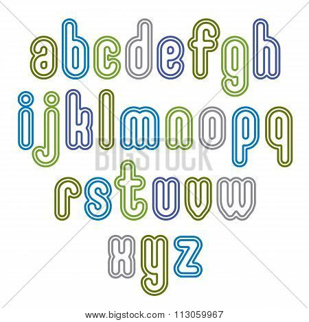 Double Light Green Lowercase Letters Isolated On White Backdrop.