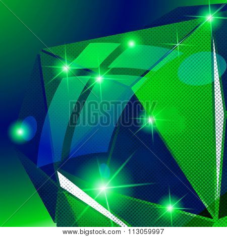 Vector Futuristic Background With Shine Effect, Sparkling Textured Deformed Figure.
