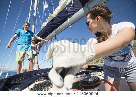 ERMIONI - LEONIDIO, GREECE - CIRCA MAY, 2014: Sailors participate in sailing regatta 11th Ellada Spring 2014 among Greek island group in the Aegean Sea, in Cyclades and Argo-Saronic Gulf.