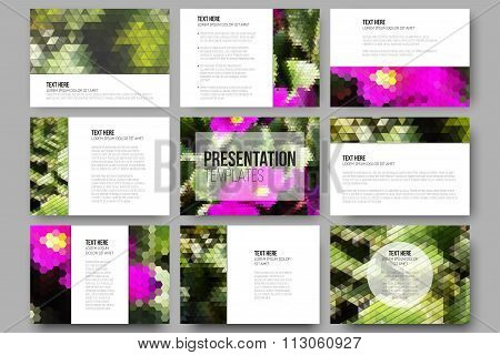 Set of 9 templates for presentation slides. Yellow flowers on the grass. Aabstract multicolored back