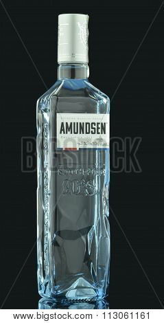 Amundsen premium vodka isolated on dark background.