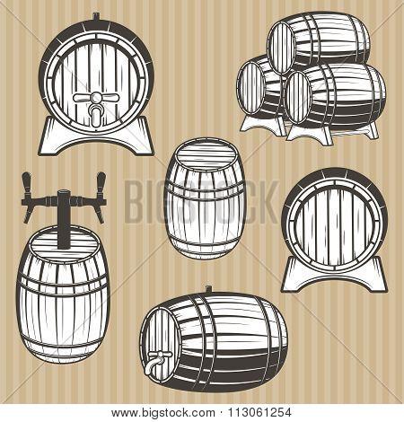 Vector set of barrels in vintage style.