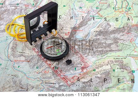 Compass on a hiking map of the Berchtesgaden Alps