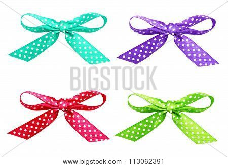 Set Of Spotted Ribbon Bows