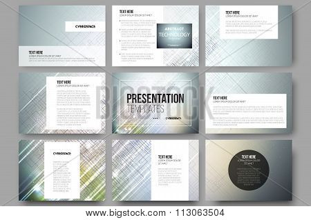 Set of 9 templates for presentation slides. Abstract science or technology vector background