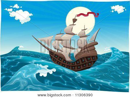 Galleon in the sea.