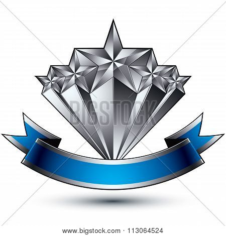 Renown Vector Silver Star Emblem With Wavy Ribbon, 3D Sophisticated Pentagonal Design Element