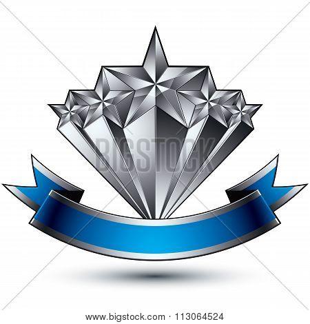 Renown Vector Silver Star Emblem With Wavy Ribbon, 3D Sophisticated Pentagonal Design Element