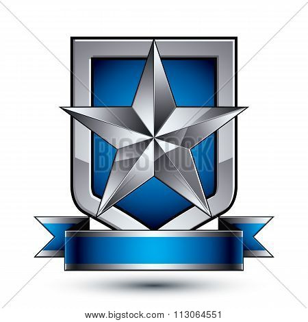 Heraldic Vector Template With Pentagonal Silver Star Placed On A Security Shield And Decorated With