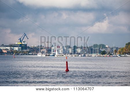 View To The City Port In Rostock