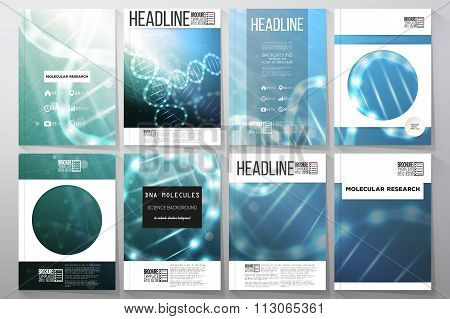 Set of business templates for brochure, flyer or booklet. DNA molecule structure on a blue backgroun
