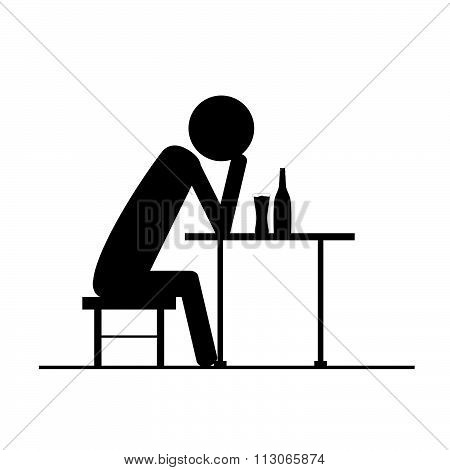 Drunk Man Icon Vector Silhouette On Chair