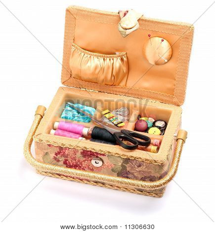 Sewing Box Isolated On White Background