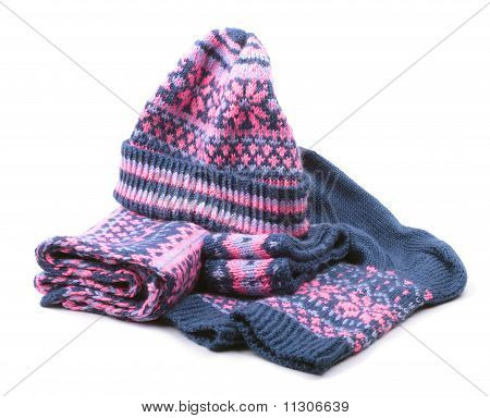 Winter Woollen Set Isolated On White Background