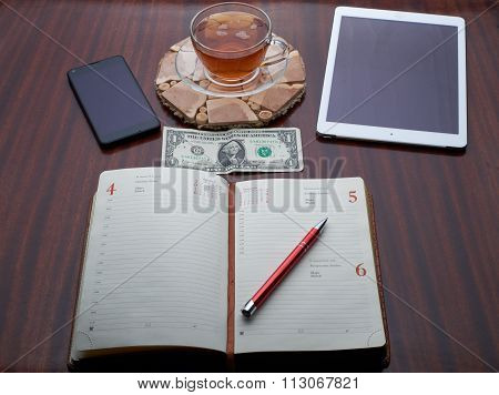 Notes to the plate with a cup of tea, a telephone, a pen, money