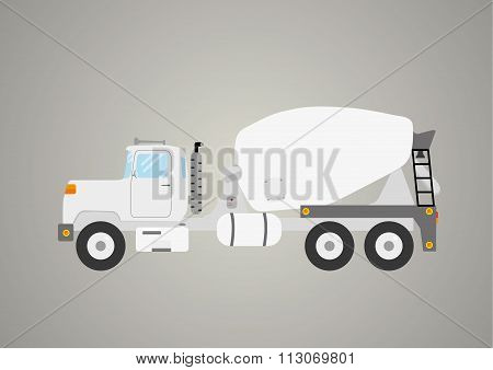 Concrete Mix Truck Flat Industry Car Vehicle Vector
