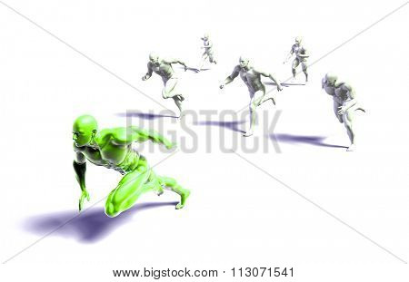 Leader Running Ahead of the Competition in 3d