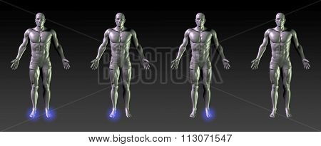 Foot Recovery or Rehabilitation with Blue Glow