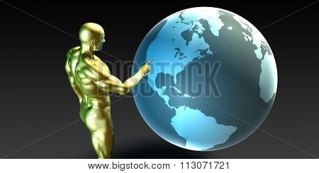 Businessman Pointing at North America Business Investment