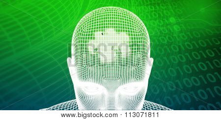 Brain Processor of a Human Mind and Memory Concept