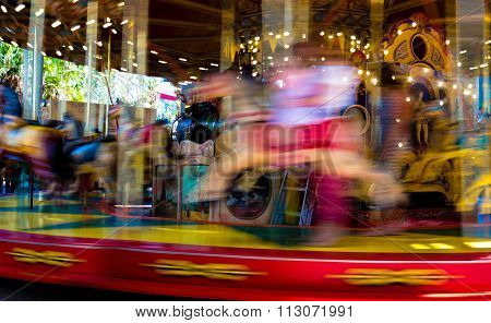 Blurred Defocused Background Of Traditional Fairground Vintage Carousel