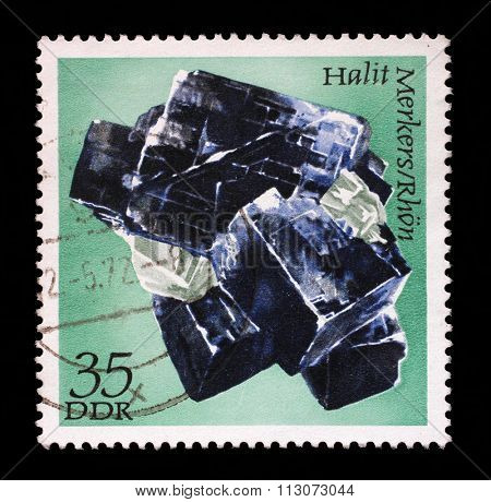 GDR-CIRCA 1972: A stamp printed in GDR shows Halite from the series Minerals, circa 1972.