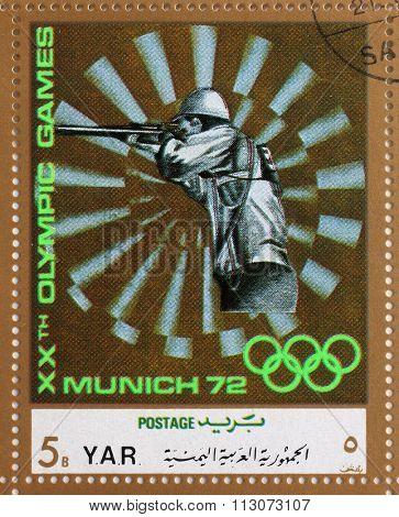 YAR - CIRCA 1972: A stamp printed in Yemen Arab Republic shows sport Shooting, Olympics in Munich, circa 1972
