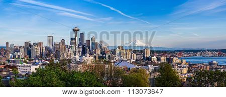 Panorama View Of Seattle Downtown Skyline And Mt. Rainier, Washington