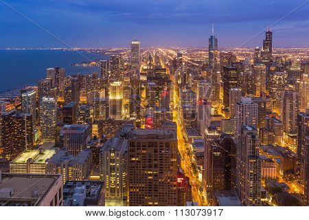 Chicago Downtown Skyline At Night, Illinois