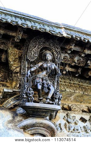Artistic deity at entrance of Chennakesava temple at Belur on December 30th, 2015