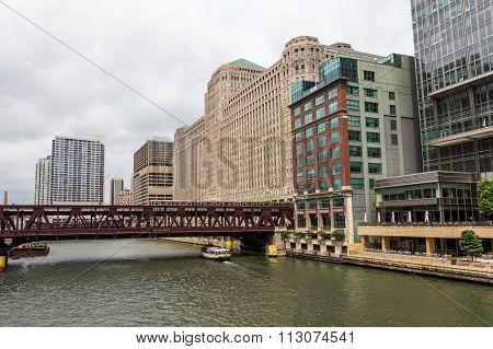 Metro Train On Bridge Over Chicago River