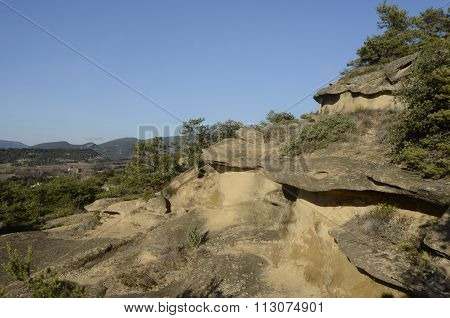 Drome Landscape Of Sand Rocks In France