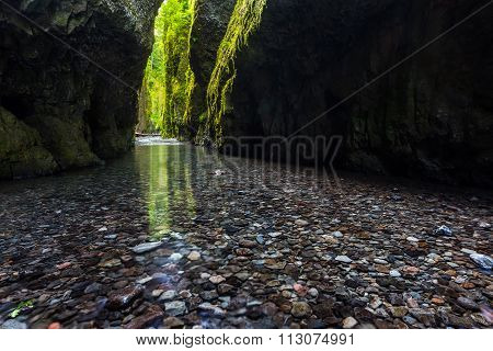Hiking In Oneonta Gorge Trail, Oregon.