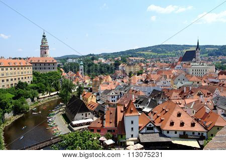 Czech Krumlov  View From The Castle Over The City And River