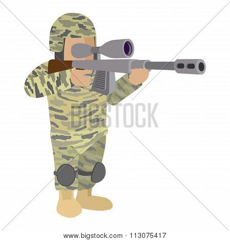 Soldier in camouflage cartoon icon