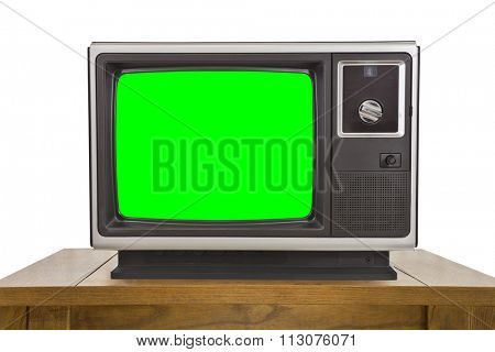 Old television with chroma key green screen isolated on white.