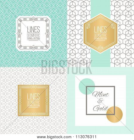 Line Patterns in mint and gold