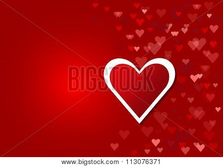 Red heart wth the frame of the white heart