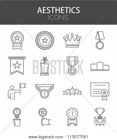 Vector modern thin line flat design of icons set.