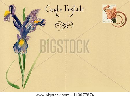 Vintage post card design template with a place for text and a watercolour drawing