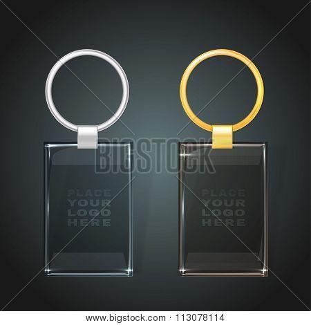 glass rectangular keychain