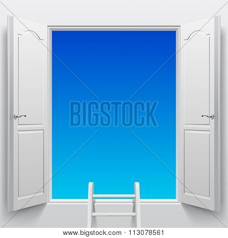 Open white double doors into sky and step ladder. Concept design
