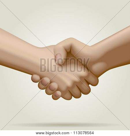 Handshake in full colors. Business partnership symbol and metaphor. Contain the Clipping Path