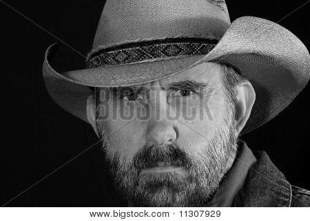 A Cowboy Squints in Black and White