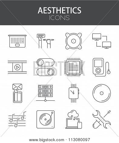 Vector modern thin line flat design of icons set.