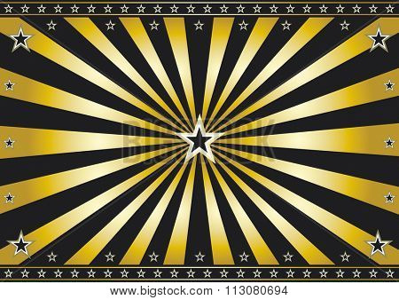 Gold and black retro sunbeams background. A vintage horizontal poster with gold sunbeams for you. Perfect size for a screen.
