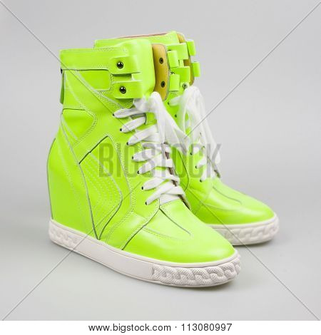Green Sneakers Isolated On White